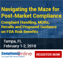Complaint Handling, MDRs, Recalls and Proposed Guidance on FDA Risk Benefits