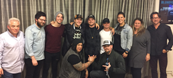 Photo taken at Eleven Seven Label Group / 10th Street Entertainment. Nevrlands band members with Rene Mata, Benji Madden and Dan Lieblein (CFO), AJ Kasen (VP of A&R), Alex Hock (Director of Legal Affairs), Steve Kline (COO) Rose Slanic (GM)