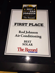 award for best solar installer in Stockton from the San Joaquin Record