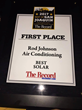 Rod Johnson Air Conditioning Wins Best of San Joaquin 2017 for Solar