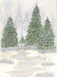 Snowy pines artwork by Peggy Ritter of New Perspective Senior Living, Eagan, Minn.