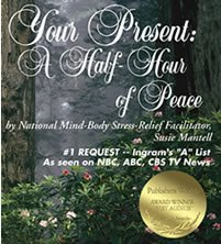 "Award-Winning sleep meditation CD, ""Your Present: A Half-Hour of Peace."" Buy 5 Get 6 CDs on www.RelaxIntuit.com. The perfect stress relief gift idea for Christmas Presents and Hanukkah Gifts for everyone on your holiday shopping list."