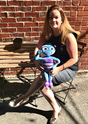 CEO Sarah Shipley with her creation, Off-Kilta Matilda plush toy; to get kids excited about learning math