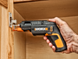 WORX SD SemiAutomatic Driver with Screw Holder sets and levels screw while fastening hinge.