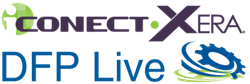 Image of iCONECT-XERA and DFP Live logos