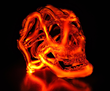 "Eric Franklin, ""Skull 1,"" 2013. Borosilicate glass, neon, mercury, acrylic, electronics. 12 x 12 x 12 inches. Photo by artist."