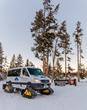 Guests on the week-long Winter Wolves of Yellowstone trip by Wildlife Expeditions this February travel by customized Mercedes-Benz Sprinter snow coach to view wolves and other wildlife (photo: Orijin