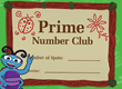 Prime Number Club Certificate
