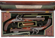 Pair of Flintlock Carriage Pistols with Spring Loaded Bayonets by Isaac Blissett, Sold For $63,250, The Auction World Record Price for Any Pair of Bayoneted Carriage Pistols.