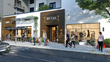 Shows retail shops at the ground level in rendering