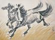 """Zu Beihong, """"Two Racing Stallions"""" (1942). Lot 70, Gianguan Auctions."""