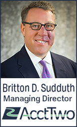 AcctTwo announced that the firm has hired Britton Sudduth as Managing Director.