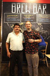 NARSA Director Don Julio Abel Arevalo Tello (left) and Brandon Bir, Director of Sustainability and Education for Columbus coffee roaster Crimson Cup Coffee & Tea
