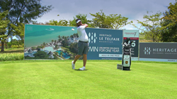 Louis Oosthuizen playing on the best of golf in a paradise island of Mauritius
