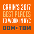 Dom & Tom Named to Crain's 2017 Best Places to Work in NYC List