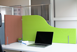 Work Fort Desktop Privacy Panels in Caramel and Key Lime fabric