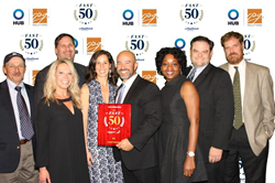 Group photo of Level Homes North Carolina employees receiving the Fast 50 Award from The Triangle Business Journal