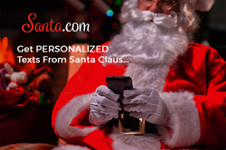 Santa Claus sending personalized texts from Santa.com