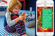 Little boy receiving texts from Santa on his phone