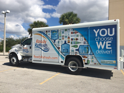 ReadyRefresh's additional Ford F-650/750 delivery trucks are each equipped with a ROUSH CleanTech propane autogas fuel system.