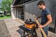 WORX BladeRunner benchtop saw cutting trim at worksite