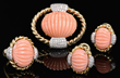 18kt Yellow Gold, Carved Coral and Diamond Suite, Realized $3,025.