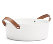 WRJ Design suggests this simply elegant porcelain salad bowl with leather saddle straps by Ralph Lauren as a fabulous gift for the savvy entertainer.