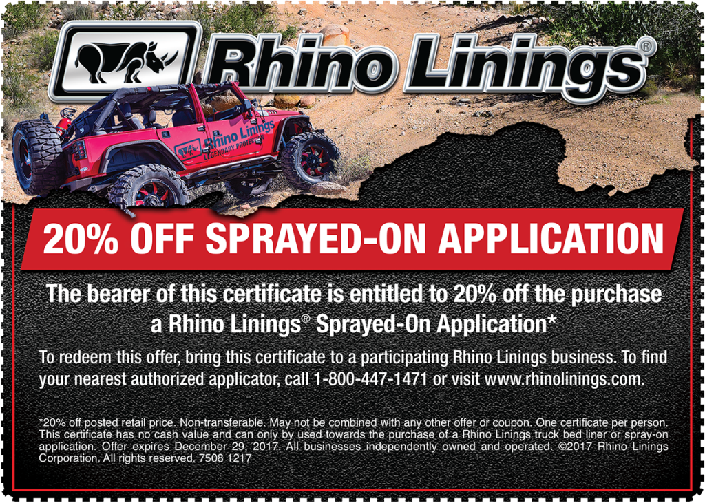 Rhino Linings Announces Year End Promotion