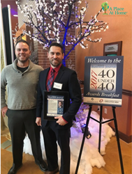 Jerod Evanich, accompanied by business partner, Dustin Distefano, at the 2017 Midlands Business Journal's 40 Under 40 Awards Breakfast