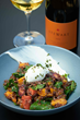 Southside Superfood Breakfast Bowl red quinoa, roasted beets, arugula, poached egg, greek yogurt, chia seeds paired with 2015 Stewart Cellars Chardonnay.