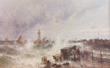 Theodore Alexander Weber (1838-1907), large marine seascape of stormy seas at harbor entrance
