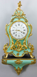 19thC. French Louis XV-style clock with shelf having ornate bronze ormolu mounts