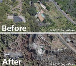 A before and after aerial image provided by EagleView shows damage from California wildfires