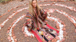 Shamanic healer Anahata Ananda doing ceremony in a spiral Sedona vortex.