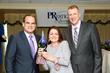 PRmediaNow's Colin Trethewey (left) & Coleen Murphy (center) receive a 2017 PRSA Tampa Bay PRestige Award