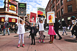 Children protesting with WalkWoke signs