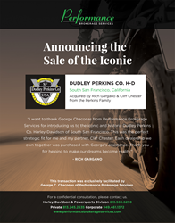 Performance Brokerage Services Announces Sale of Dudley Perkins Co. Harley-Davidson