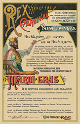 Rex, King of Carnival, Royal Edict Announcing New Orleans Mardi Gras