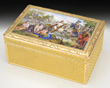 Solid Gold Russian Hinged Box with Micro Mosaic Classical Scene, estimated at $4,000-6,000.