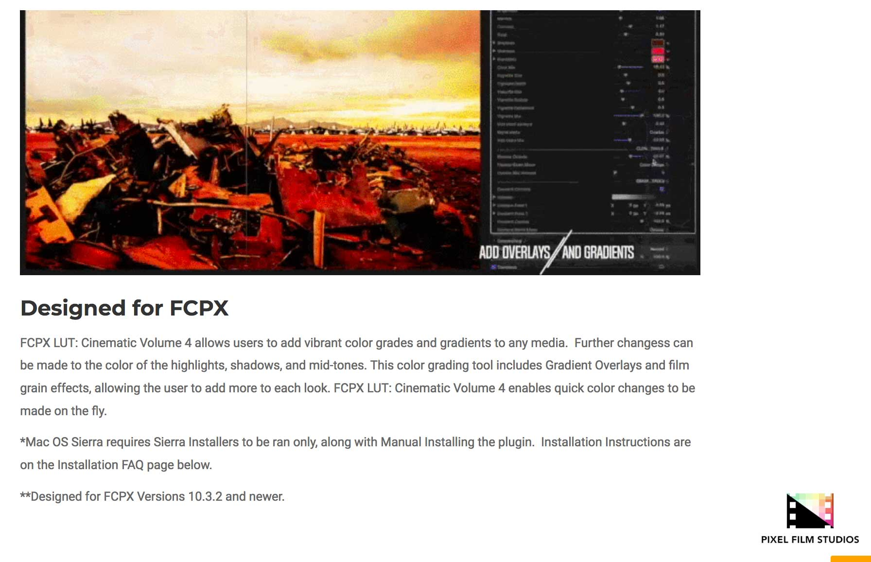 Fcpx Lut Cinematic Volume 4 Was Released By Pixel Film Studios For