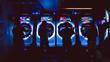Neon-lit gamers in a high tech modern arcade.