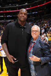 NBA Star Shaquille O'Neal is pictured with PodcastOne Chairman Norman Pattiz