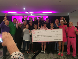 Morgan Pressel, LPGA stars and the members of St. Andrews Country Club presenting check