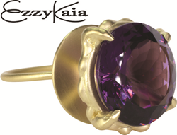 14k or 18k yellow gold cocktail ring with a large 16.68 carat purple Amethyst