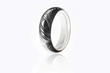 Wood Grain Damascus Ring by Carbon 6, with White Gold