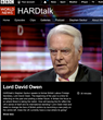 Focus SB is mentioned by Lord David Owen during an interview with BBC HARDtalk's Stephen Sackur on 4th January 2018.