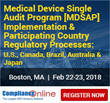 ComplianceOnline Announces Popular Seminar on Medical Device Single Audit Program [MDSAP] (U.S., Canada, Brazil, Australia and Japan)