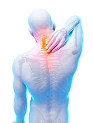 Human image of neck pain and upper back pain.