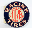 New Old Stock Racine Tires Tin Flange Sign, estimated at $2,500-3,500.