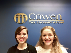 Rebecca LaVoie, 24, and Sara McKinney, 22, bring fresh skills and digital fluency to Cowen Tax Advisory Group.